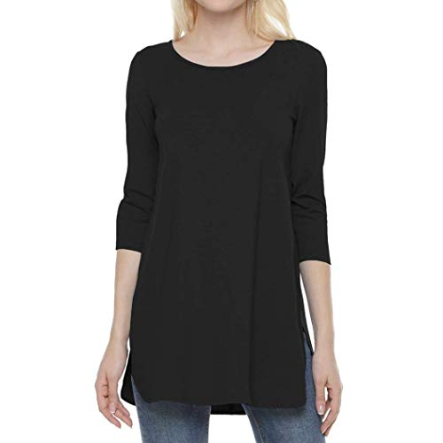 Henleys,Toimoth Womens Long Sleeve Solid Color Side Slit Tops Ladies Casual Blouse Shirt (Black,XL) ()