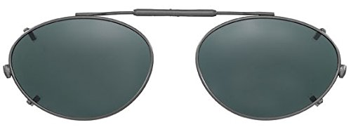 Visionaries Clip on Sunglasses - Almond Shape - Polarized Black Flash Mirror/black Frame - 51mm Wide X 36mm - Loaded On Spring Sunglasses Clip