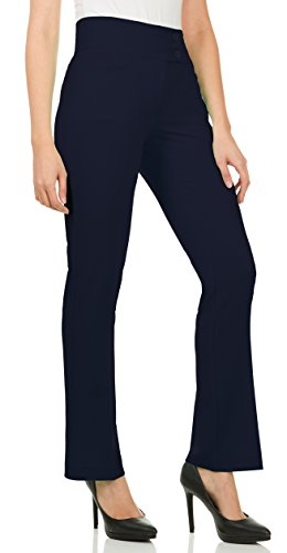 Velucci Dress Pants for Women - Womens Slight Bootcut Office Wear Ladies Pant Navy-XXL