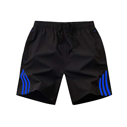 Get-in Striped Shorts Men Summer Sportswear Casual Boardshorts Zipper Pocket Breathable Short Trousers, Cc109 Blue,L ()