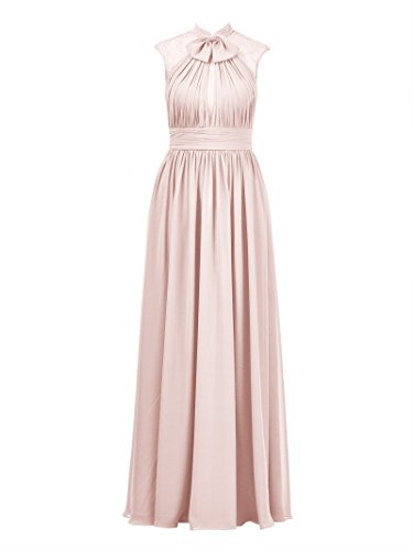 Lace Chiffon Bridesmaid Gown Evening Formal Long Prom Alicepub Pearl Dress Party Pink 2017 Dress qAtxzE
