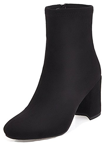 Toe Inside With Zip Womens Simple Ankle Aisun Zipper High Dressy Up Booties Round Heel Black Boots Block I6wtgPqg