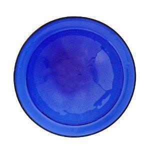 Achla Designs Crackle Glass Birdbath Bowl with Stake, 14-in, Cobalt Blue