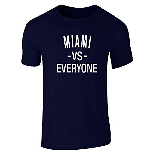 Pop Threads Miami vs Everyone Florida Sports Fan Navy Blue L Short Sleeve ()