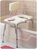 Apex-Carex H/C Prod (a) Bathtub Transfer Bench Vinyl Padded W/ Cut-Out & Pail