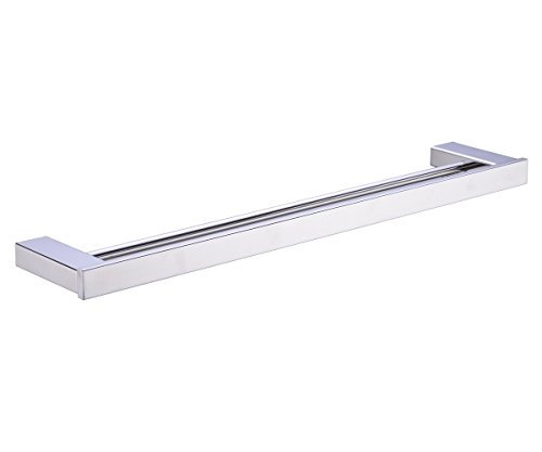 Rail Contemporary Towel - TRUSTMI JP8002PL 304 Stainless Steel Bathroom Double Towel Bar Rail Holder,Polished Stainless Steel