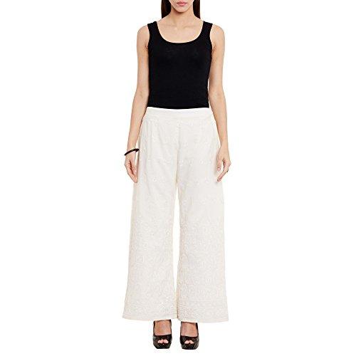 ShalinIndia Long Palazzo Pants Pure Cotton Womens Dress Thread Work, Machine Embroidery,Cream