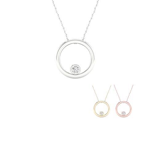 - IGI Certified 10K Gold 1/20Ct TDW Diamond Solitaire Necklace (I-J,I2) (rose-gold)
