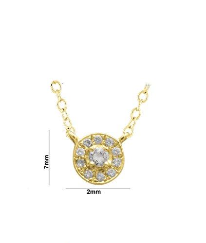 Libertini Colliar argent 925 plaque or Jaune serti de Diamant en forme de Rond