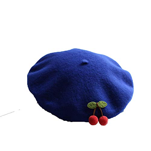 Solid Cute Cherry Beret Women Basque French Artist Wool Beret Stretch Slouch Cap Top Hat Autumn Winter Beret (Knitting Hats Felted)
