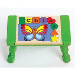 Puzzle Stool Primary (Personalized Butterfly Puzzle Stool - Color: Primary Puzzle with Green Stool Top & Multi Primary Legs)