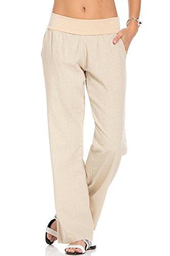 Poplooks Women's Comfy Fold Over Linen Pants Natural Plus Size 1X (Cotton Linen Khakis)