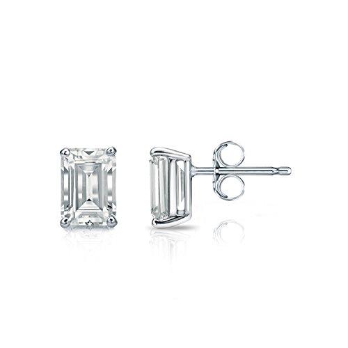 Diamond Wish 14k White Gold Emerald-Cut Diamond Stud Earrings (1 carat TW, O.White, SI1-SI2, IGI Certified) 4-Prong Basket, -