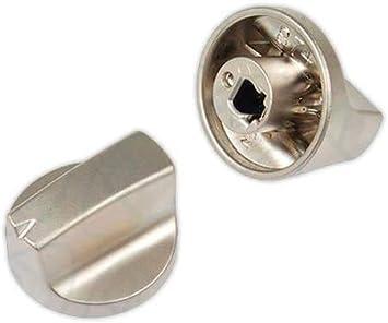 DOJA Industrial | Mando para Cocina y Encimera compatible con TEKA | PACK 4 | 6x32 mm | Eje 6 mm | Color Plateado | Mando para Horno, Placa Gas, Butano, Vitroceramica, Microondas, Estufa de Gas.