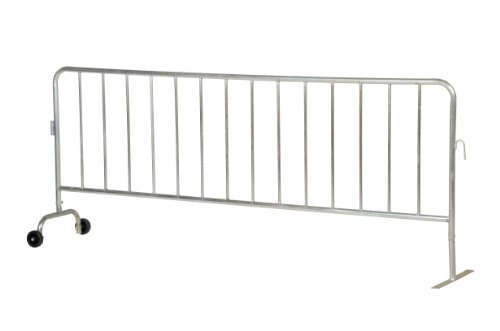 Vestil-PRAIL-102-G-WF-Steel-Crowd-Control-Interlocking-Barrier-with-1-Wheel-and-1-Flat-Foot-Light-Weight-58-Rail-Diameter-L-x-W-x-H-102-x-20-x-40-Zinc-Plated