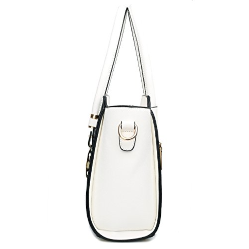 Leather amp; Classic Lulu Miss Winged Shoulder Look White Black Bag S5Hyw8q