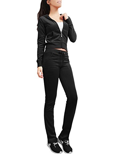 Pants Velour Hoodie - NE PEOPLE Womens Casual Basic Velour Zip Up Hoodie Sweatsuit Tracksuit Set S-3XL Black