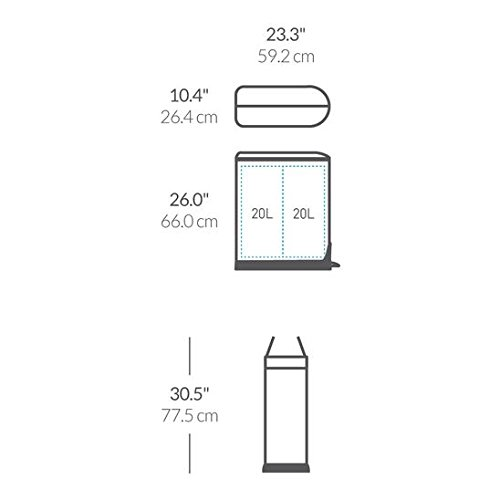 simplehuman 40 Liter / 10.6 Gallon Stainless Steel Dual Compartment Butterfly Lid Kitchen Step Trash Can Recycler, Brushed Stainless Steel by simplehuman (Image #5)