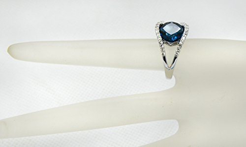 Sterling Silver 925 STATEMENT Ring GENUINE LONDON BLUE TOPAZ 7.62 Carats with RHODIUM-PLATED Finish (8) by RB Gems (Image #1)