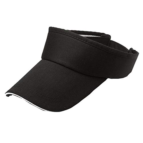 Unisex Summer Visor Sun Plain Hat UN Protection Adjustable Solid Cap Breathable Unconstructed Fashion Trucker Cap (Black)
