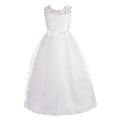 Dressy Daisy Girls Pageant Wedding Flower Girl Dresses Lace Ball Gown Floor Length Size 10 White