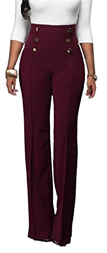 Women's Casual Stretchy High Waisted Button Down Wide Leg Long Pants Plus Size Wine XL