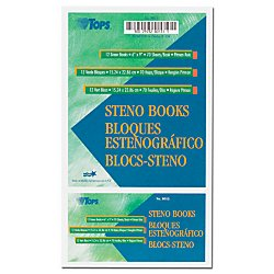 "Tops Steno Books, 6"" X 9"", Pitman Rule, Green Tint Paper, 80 Sheets, 12 Pack (8023)"