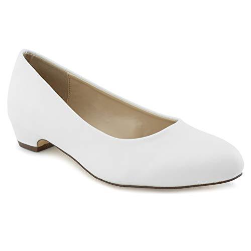 Women's True Wide Width Low Walking Heel Comfortable Dress Pumps - Plus Size Friendly White Size.11 (Best Insoles For Overweight)