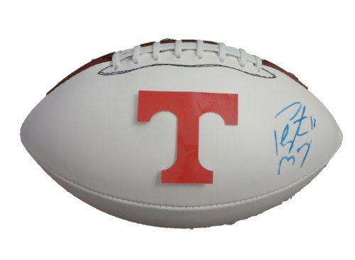 Peyton Manning Autographed Tennessee Volunteers Logo Football W/PROOF, Picture of Peyton Signing For Us, Denver Broncos, Indianapolis Colts, Tennessee Vols, Super Bowl, Super Bowl Champion, MVP