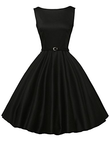 Women Black Retro Dresses Fit and Flared Size M F-13 - Black 50s Dress