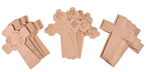 Creative Hobbies 5.5 Inch Unfinished Wooden Crosses, Pack of 12, Ready to Decorate, 3-D Raised Designs