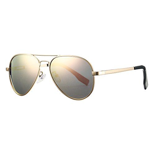 Polarized Aviator Sunglasses for Juniors Small Face Women Men Vintage UV400 Protection Shades(Gold Frame/Pink Mirrored Lens)