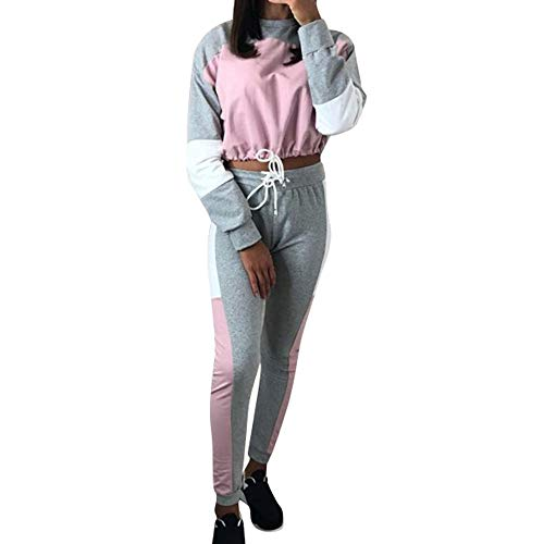 2PCS Womens Casual Long Sleeve Patchwork Tracksuits Set Sweatshirts + Pants Pullover Jumper Shirt Blouses Tops