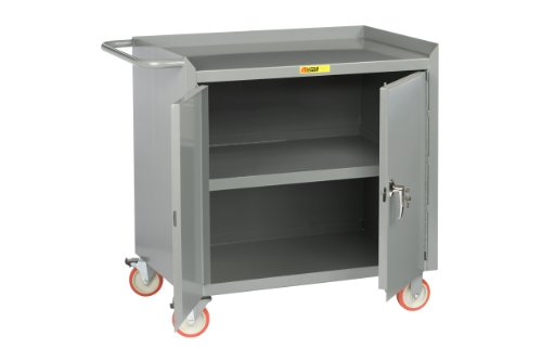 Little Giant MC3-2D-2436-TL Steel Mobile Bench Cabinet with Locking Doors and Center Shelf, Gray, 1200 lbs Load Capacity, 38'' Height x 24'' Width x 36'' Length by Little Giant