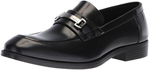 Calvin Klein Men's Craig Box Leather Loafer, Black, 7 M M US