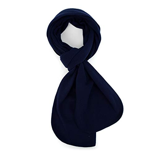 Solid Color 100% Polyester Fleece Unisex Winter Scarf (Navy)