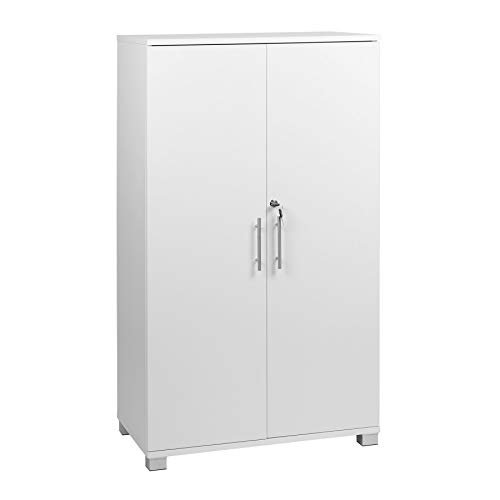 White Office Storage File Cabinet 2 Door Locking Pantry Cupboard Bookcase for Office Kitchen, 2 Storage Shelves Wooden Doors - 27.55