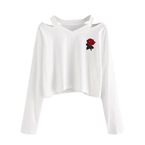 Orangeskycn Womens Sweatshirts Long Sleeve Sweater Rose Printed Causal Tops Blouse (White, L)