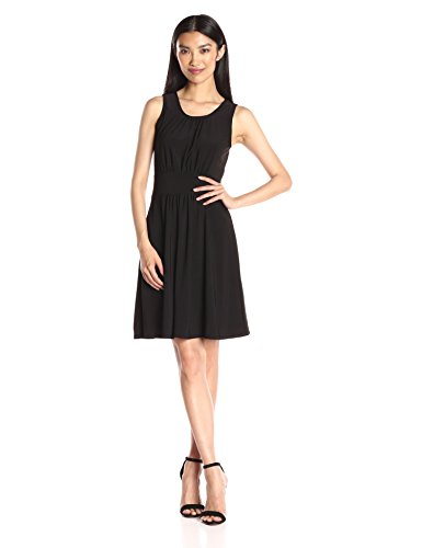 Star Vixen Women's Sleeveless Banded Skater Waist Bodice and Shirred Skirt Short Ity Dress, Black, X-Large