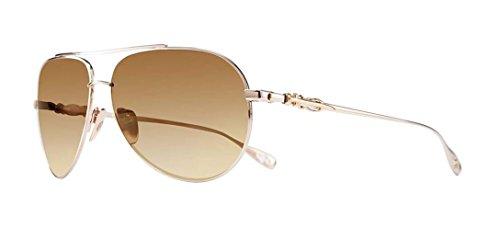 Chrome Hearts - Stains VI - Sunglasses (White Gold Plated, Mahogany Fade Gold Flash - Hearts Aviator Chrome Sunglasses