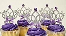 Crown Cupcake Toppers, 10 Pack Crown Girl Birthday Party Cupcake Topper, Royal Prince Baby Shower Decorations, Silver Crown Cupcake Toppers with Purple Bow, Princess Baby Shower Decorations by Craft Boutique