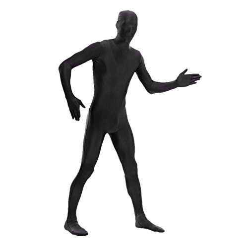 [DH Men's Lycra Spandex Full Body Costume Zentai Suit (XL Black)] (Spandex Suits)