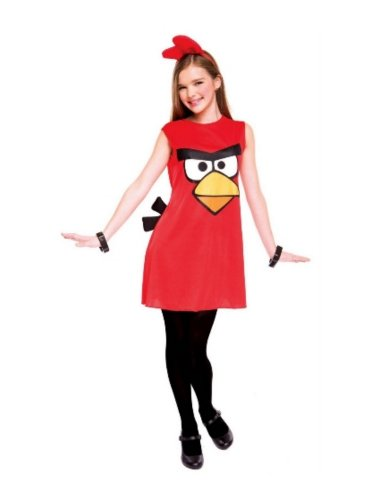 PMG Girls Red Bird Costume Angry Birds Dress & Headpiece XL (Angry Birds Red Bird Dress Costume)