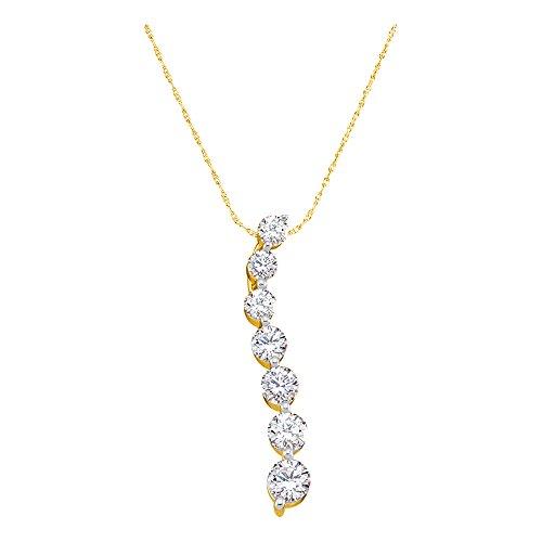 14kt Yellow Gold Womens Round Diamond Journey Pendant 1/2 Cttw (I2-I3 clarity; I-J (Gold Journey Diamond)