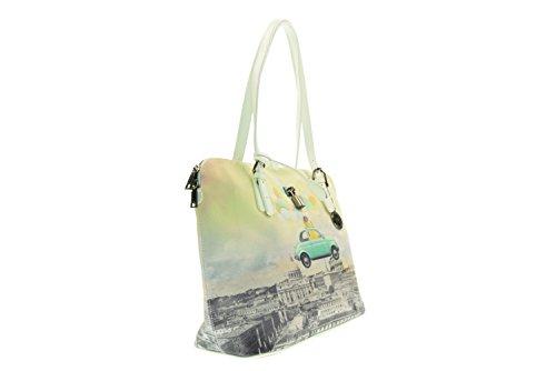 Y NOT? La bolsa de hombro de las mujeres H-377 DE LA PIEL Bianco-Verde