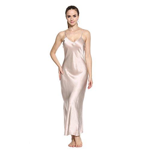 Xindi Women's Silk Nightgown Sleepwear Sexy Full Slip EN1607 (L)