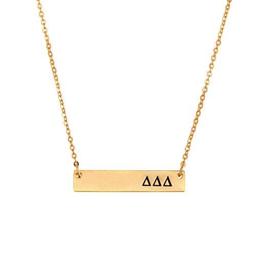 Delta Delta Delta Tri-Delt 24K Gold Plated Horizontal Bar Necklace Greek Sorority Letter with Adjustable Chain