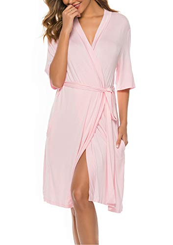ABirdon Women Lightweight Robe Short Cotton Knit Bathrobe Soft Sleepwear with V-Neck for SPA Bathing Wedding Pink