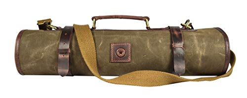 Leather Knife Roll Storage Bag | Elastic and Expandable 10 Pockets | Adjustable/Detachable Shoulder Strap | Travel-Friendly Chef Knife Case Roll By Aaron Leather (Seaweed, Canvas)
