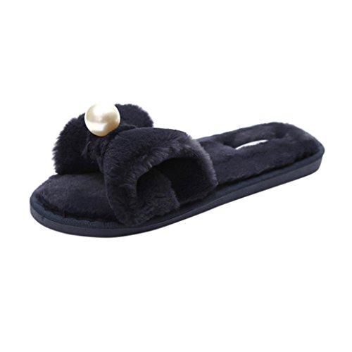 Glissez 40 Flip Claquette Rawdah Noir Flop Chaussures Tongs Fourrure EU Slipper en Les Sandal Femme sur Fluffy Diapositives Plat Fausse 1EwxFwRT